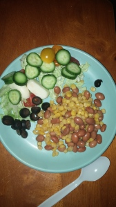 Typical dinner plate for my boy. We love salads!
