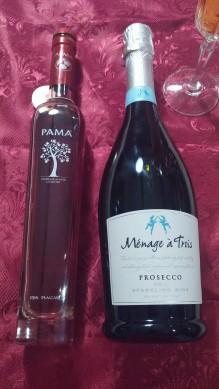 Pama pomegranate liqueur and Menage a Trois prosecco