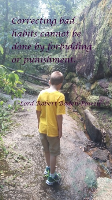 Correcting bad habits cannot be done by forbidding or punishment.  -Lord Robert Baden-Powell