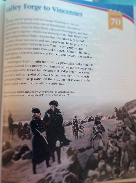 Here you see the same topic of Valley Forge during the Revolutionary War in my son's new social studies textbook. This chapter is 7 pages long and covers the subject more thoroughly. This image is also blurred in this copyrighted work to protect the interests of the publishing company. (Although, I don't think the company would mind since I'm praising the book in comparison.)